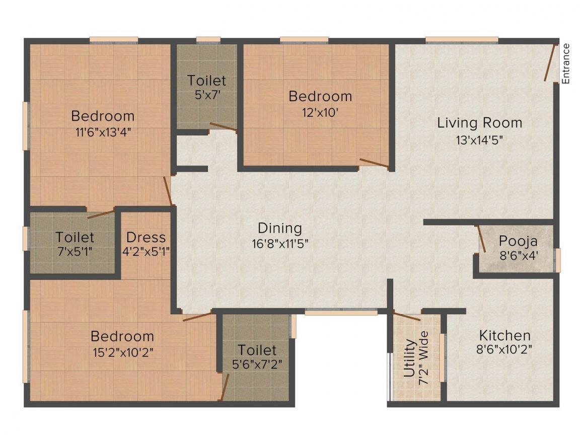 Floor Plan Image of 0 - 1445.0 Sq.ft 3 BHK Independent Floor for buy in Heights Floors-5