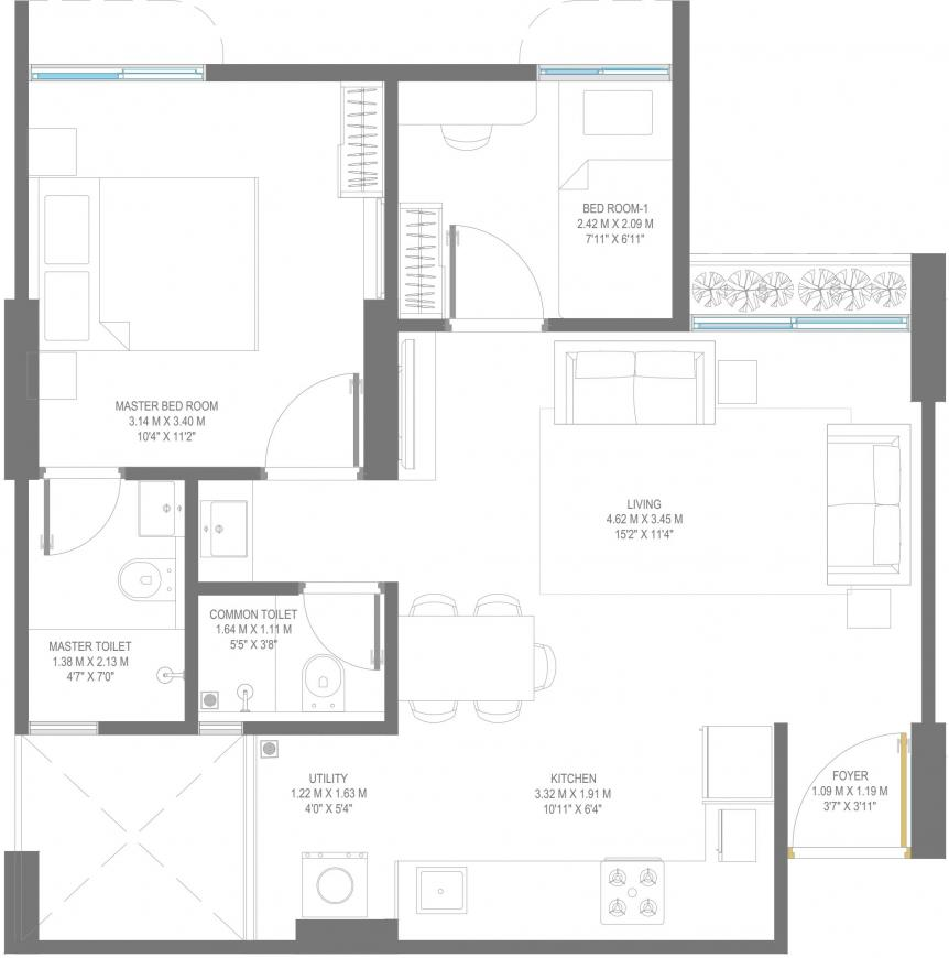Godrej Vananta Floor Plan: 2 BHK Unit with Built up area of 527 sq.ft 1