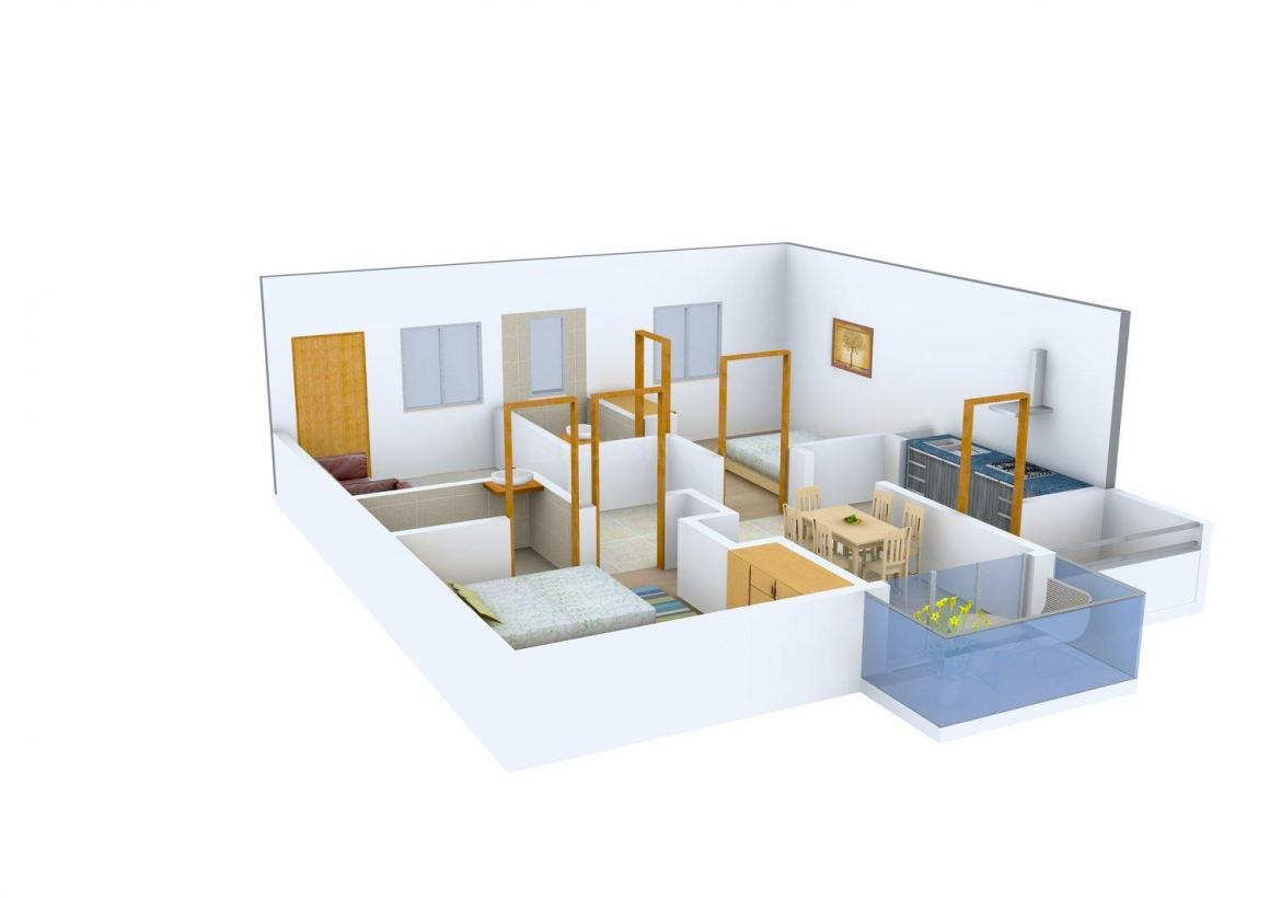 BSR GLN Residency Floor Plan: 2 BHK Unit with Built up area of 967 sq.ft 1