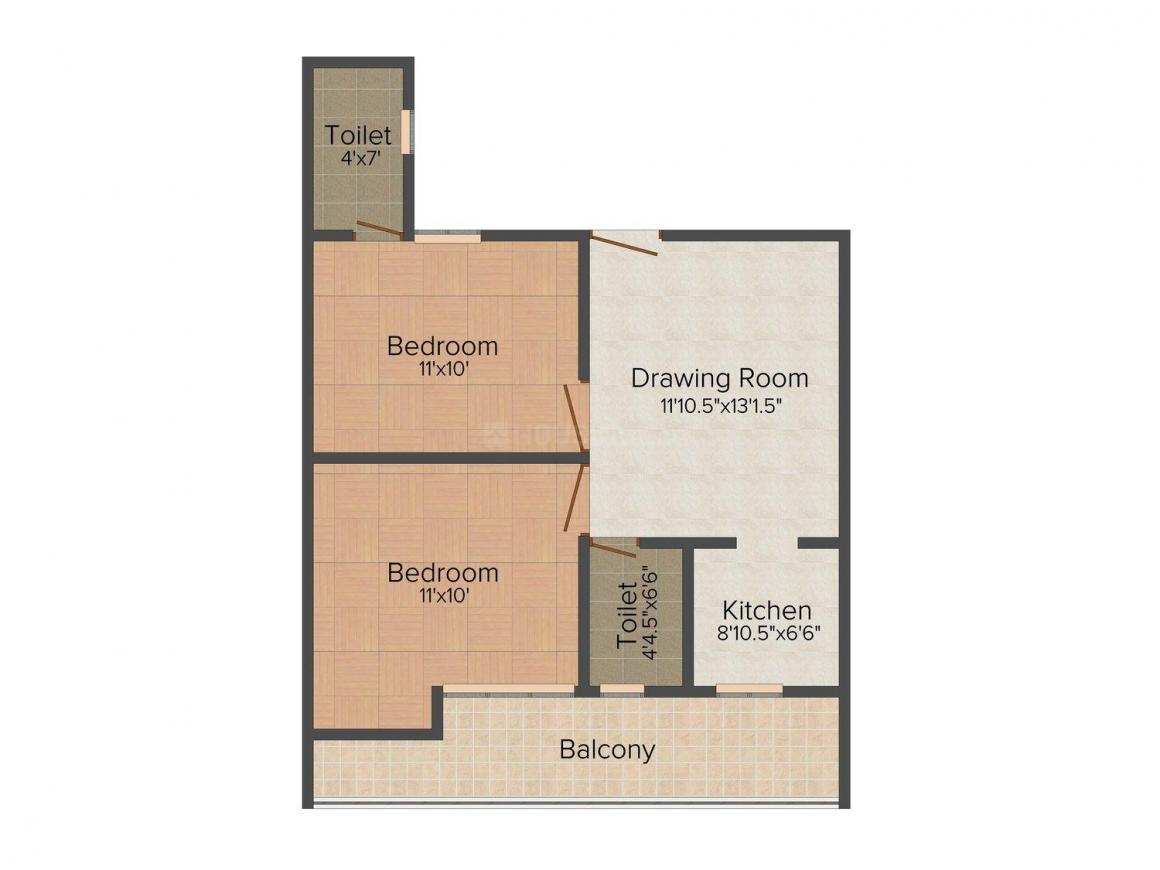 Floor Plan Image of 0 - 810.0 Sq.ft 2 BHK Apartment for buy in VP Home 13