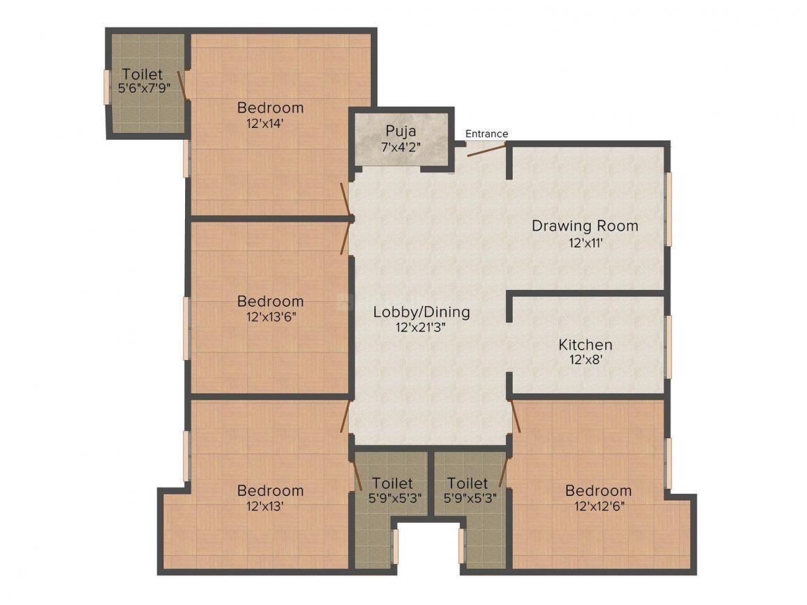 Floor Plan Image of 0 - 2200.0 Sq.ft 4 BHK Independent Floor for buy in RIPL Floor