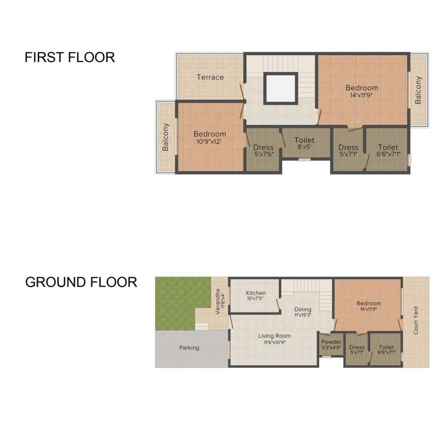 Floor Plan Image of 0 - 1392.0 Sq.ft 3 BHK Villa for buy in Coral Crimson Court