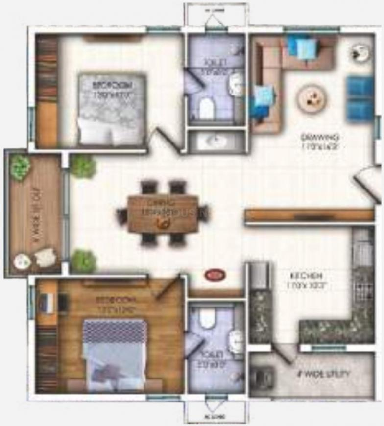 Sunyuga Elegance Floor Plan: 2 BHK Unit with Built up area of 1290 sq.ft 1