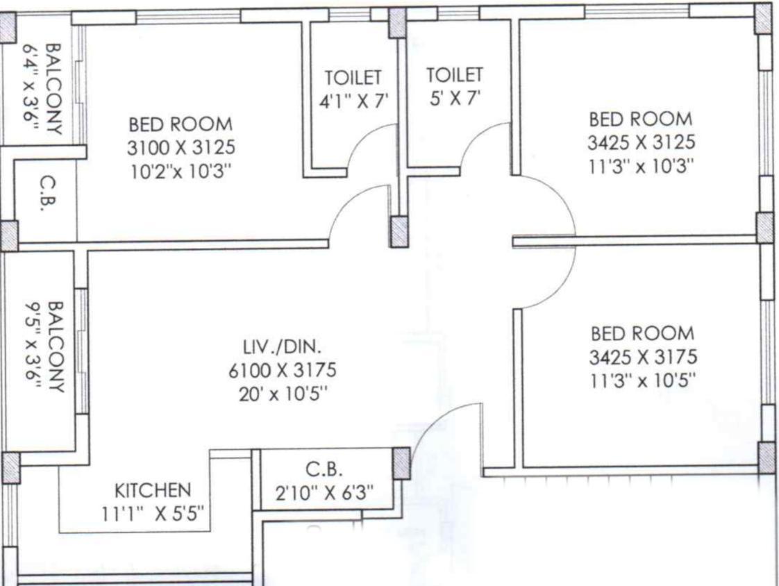 Danish Samridhya Cooperative Floor Plan: 3 BHK Unit with Built up area of 1268 sq.ft 1