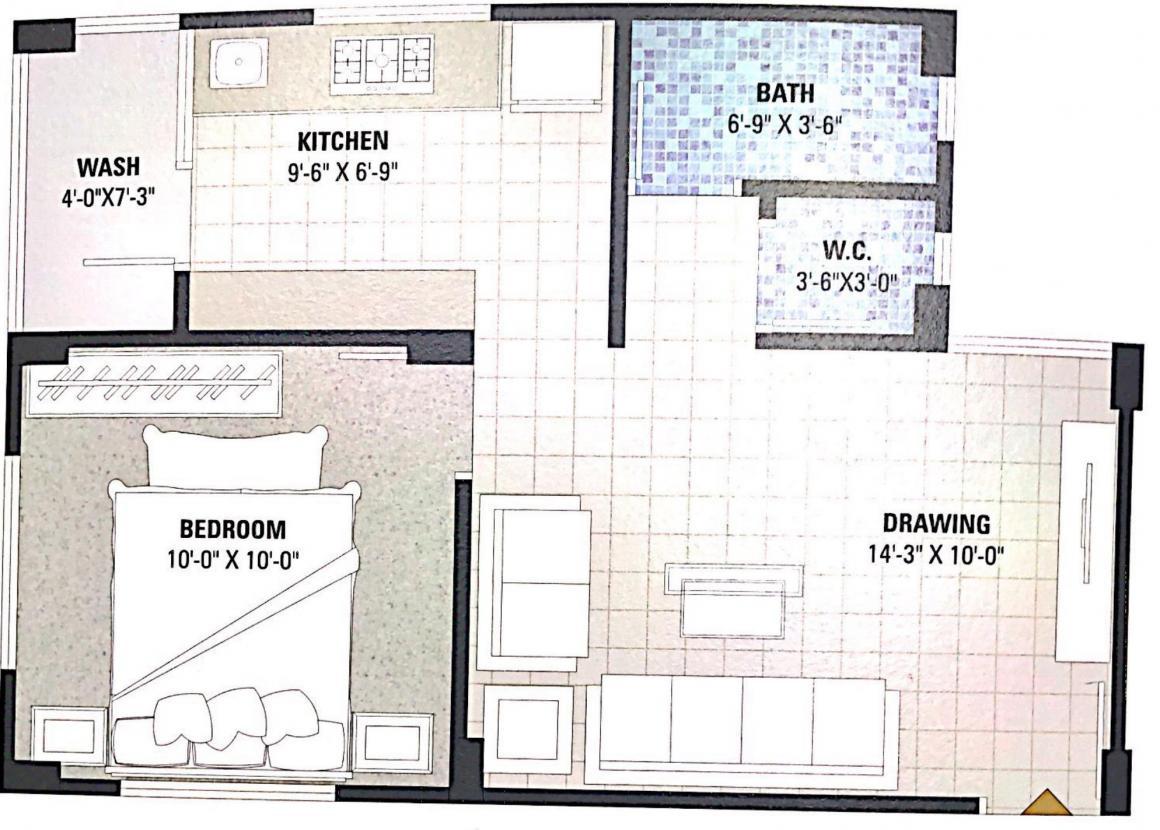 Neev Neelkanth Heights 2 Floor Plan: 1 BHK Unit with Built up area of 720 sq.ft 2