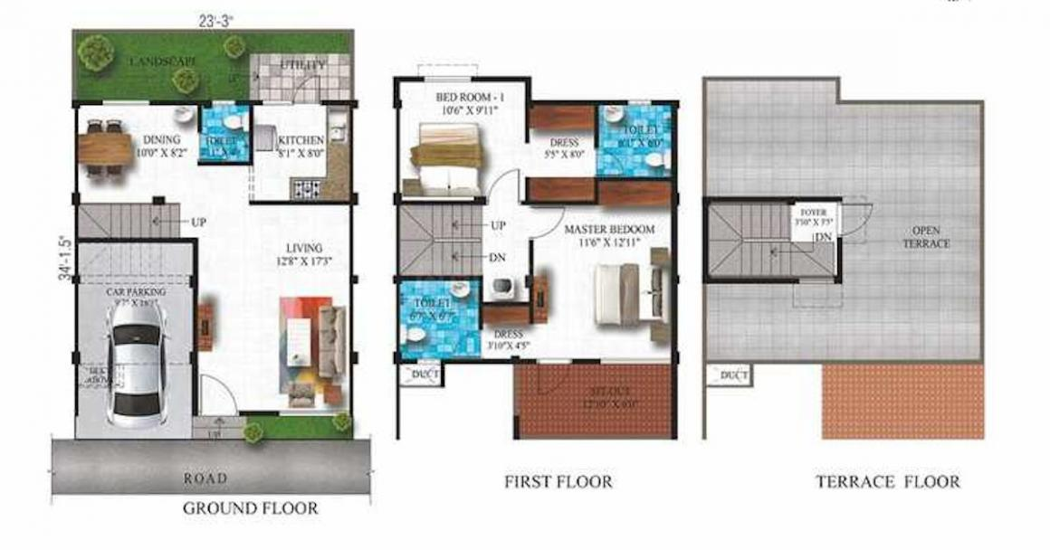 Alliance Humming Gardens Floor Plan: 2 BHK Unit with Built up area of 1270 sq.ft 1