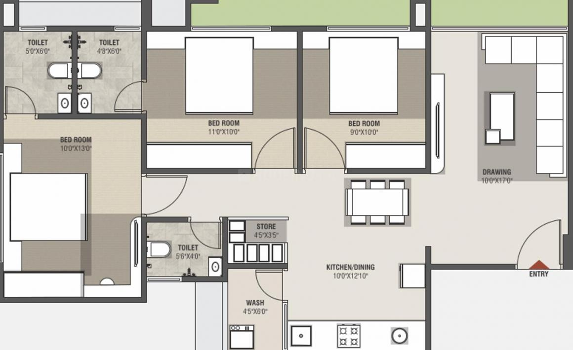 Vashikaa Aahan Floor Plan: 3 BHK Unit with Built up area of 791 sq.ft 1