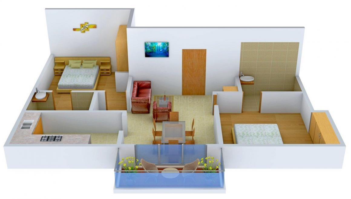 Aftab Mylitta Cresent Floor Plan: 2 BHK Unit with Built up area of 1035 sq.ft 1