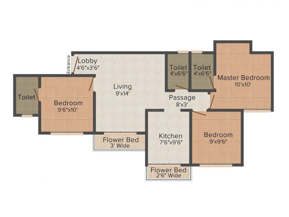Jindal Wooland Floor Plan: 3 BHK Unit with Built up area of 1550 sq.ft 1