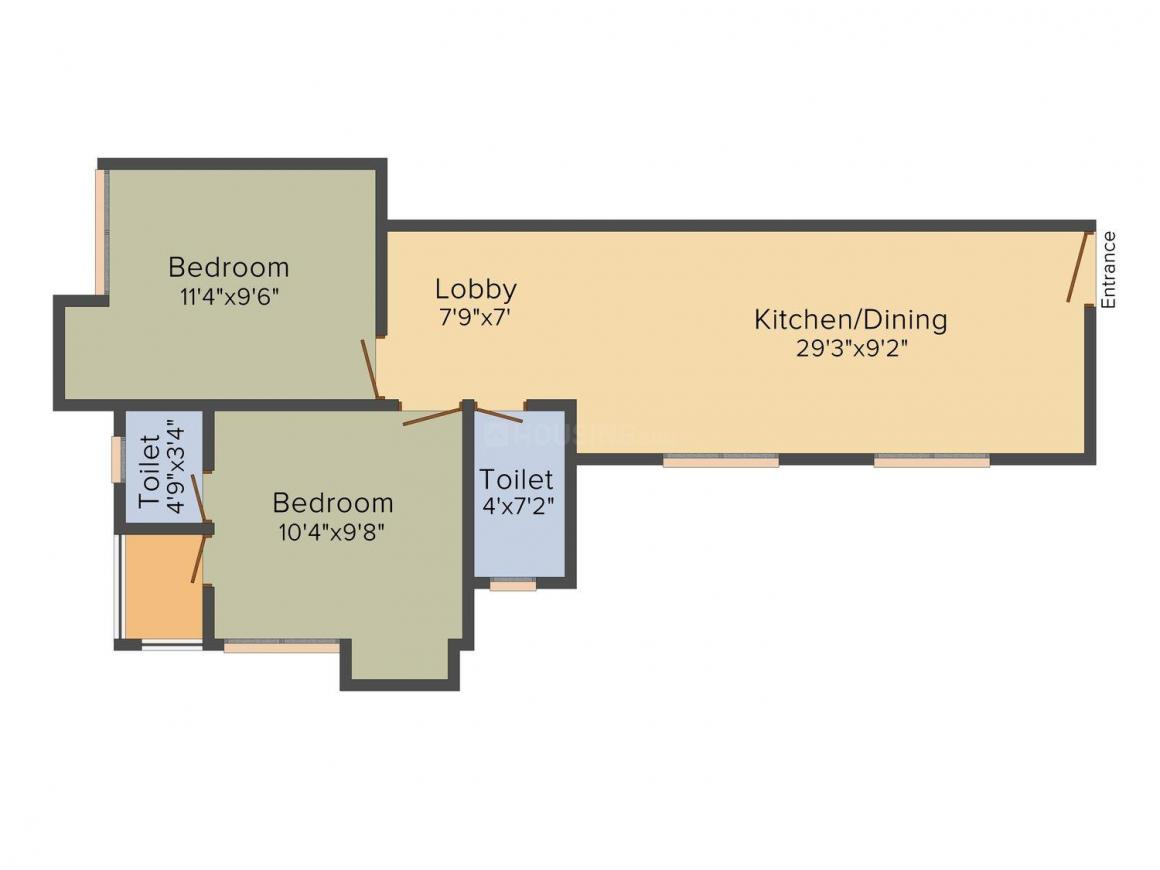 Pinnacle Maya Manzil Floor Plan: 2 BHK Unit with Built up area of 528 sq.ft 1