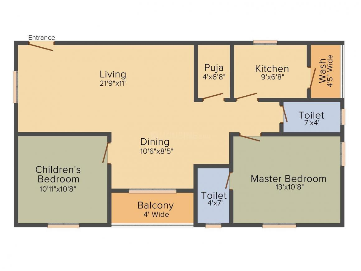 Surya Saketh Classic Floor Plan: 2 BHK Unit with Built up area of 1220 sq.ft 1