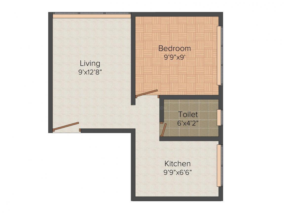 Floor Plan Image of 570 - 600 Sq.ft 1 BHK Apartment for buy in Harsh Kanjur Vinayak