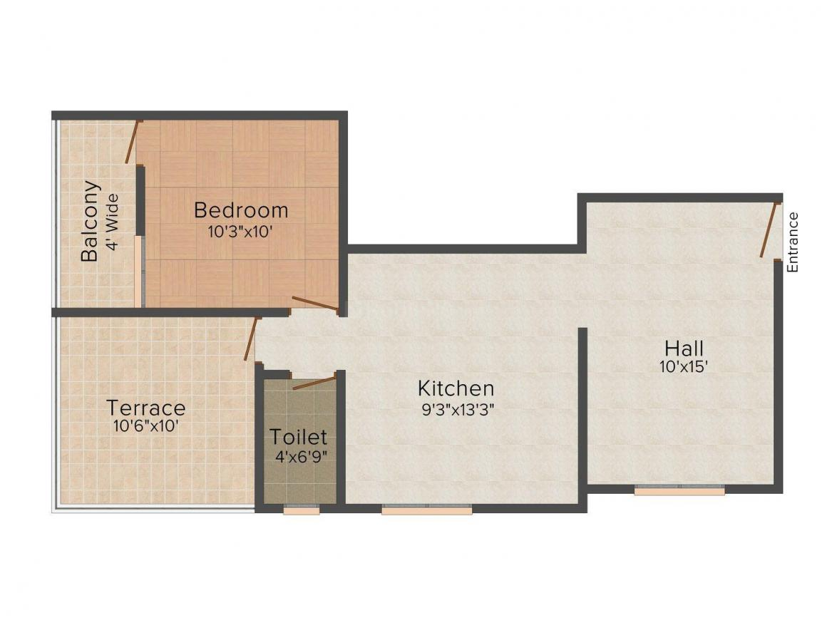 Floor Plan Image of 685 - 828 Sq.ft 1 BHK Apartment for buy in Foliage Manohar Apartment