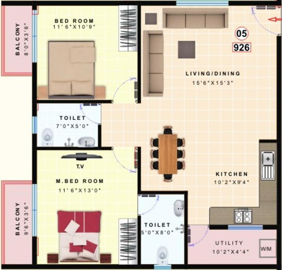 Floor Plan Image of 926.0 - 1176.0 Sq.ft 2 BHK Apartment for buy in Vikyath Paradise