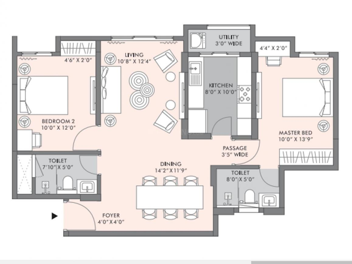 Lodha Sterling Floor Plan: 2 BHK Unit with Built up area of 811 sq.ft 1