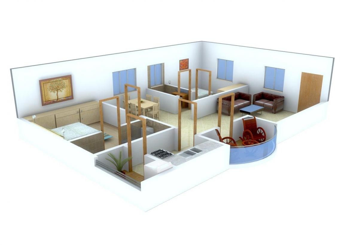 Floor Plan Image of 1280.0 - 2010.0 Sq.ft 2 BHK Apartment for buy in Sri Naina's Sunrise