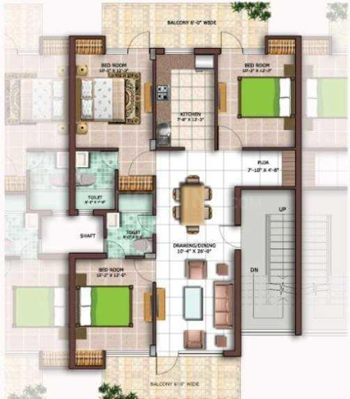 Omaxe Royal Street Floor Plan: 3 BHK Unit with Built up area of 1500 sq.ft 1