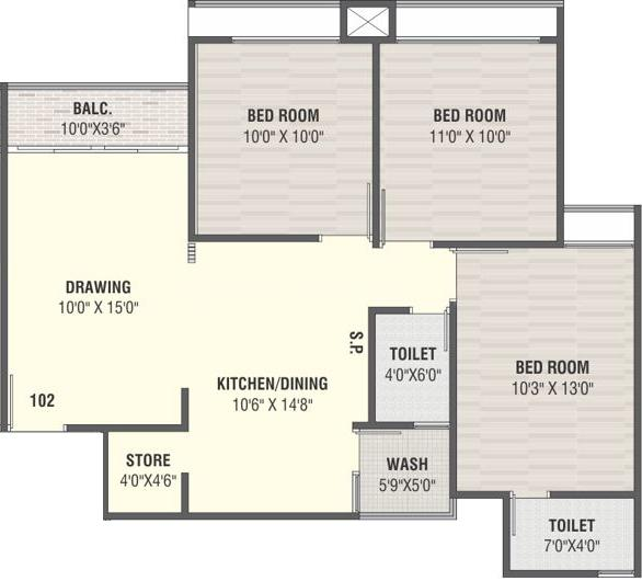 Navpad Helios Floor Plan: 3 BHK Unit with Built up area of 1440 sq.ft 1