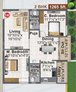 Concrete Avasa Floor Plan: 2 BHK Unit with Built up area of 1265 sq.ft 1