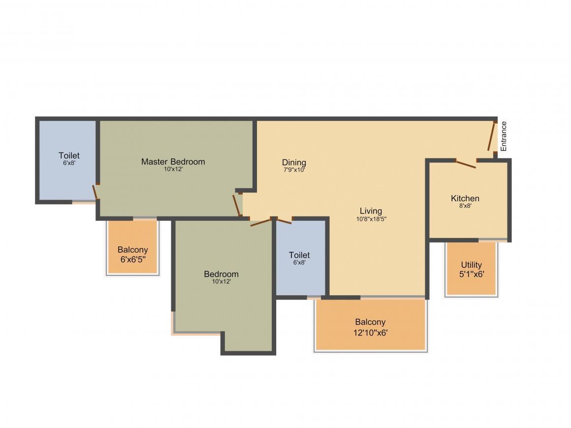 Orris Greenopolis Floor Plan: 1 BHK Unit with Built up area of 1297 sq.ft 1