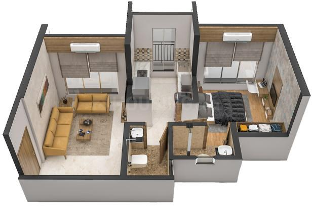 Mayfair Virar Gardens Building No 23 24 And 25 Floor Plan: 1 BHK Unit with Built up area of 357 sq.ft 1