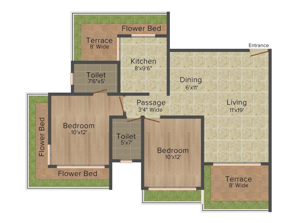 Floor Plan Image of 650 - 1090 Sq.ft 1 BHK Apartment for buy in Cosmos Harmony