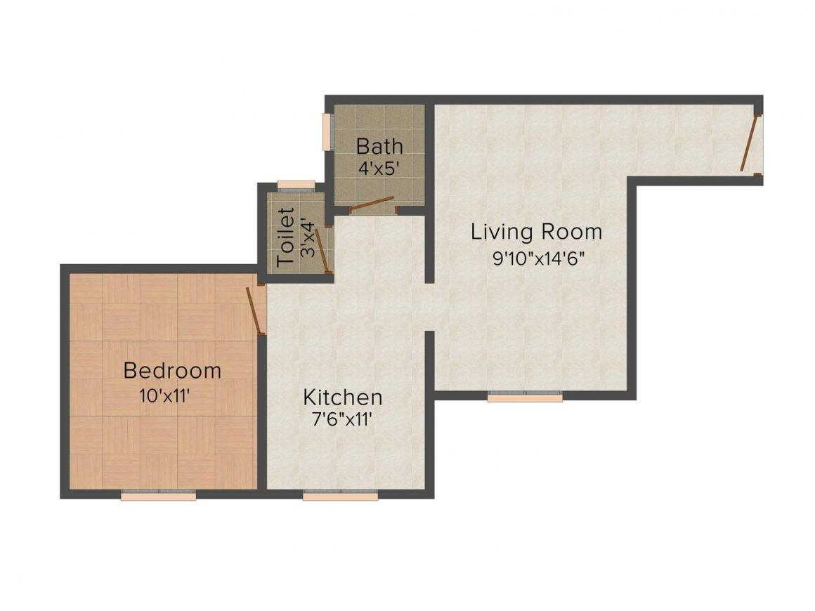 Floor Plan Image of 293.0 - 358.0 Sq.ft 1 BHK Apartment for buy in Gharkul Enclave
