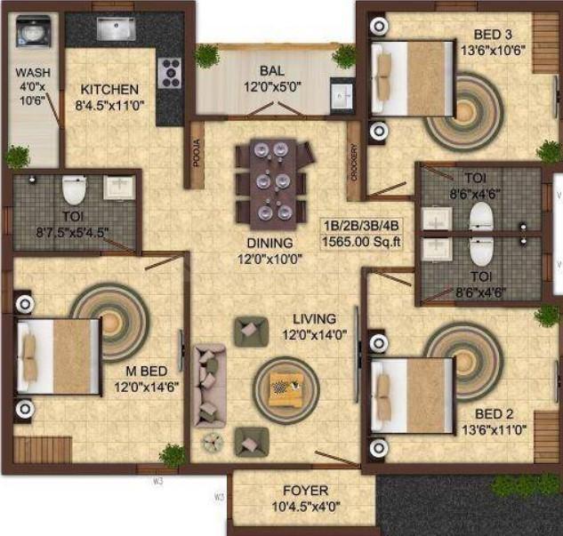 India Kurunji Enclave Floor Plan: 3 BHK Unit with Built up area of 1565 sq.ft 1