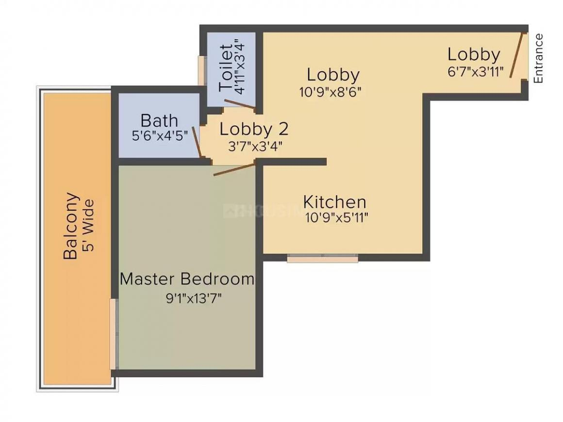 Pivotal Riddhi Siddhi Floor Plan: 1 BHK Unit with Built up area of 459 sq.ft 1
