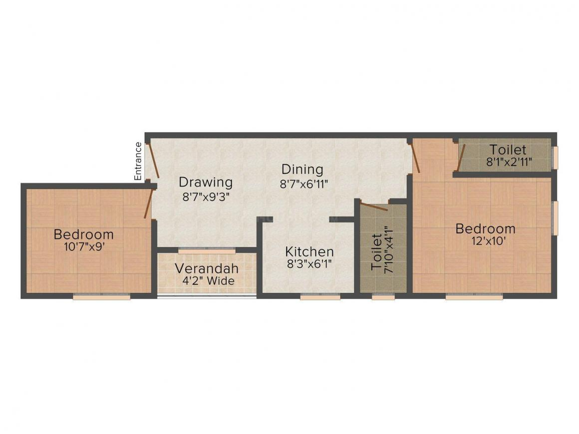 Floor Plan Image of 830.0 - 1146.0 Sq.ft 2 BHK Apartment for buy in Red Purple Sunflower