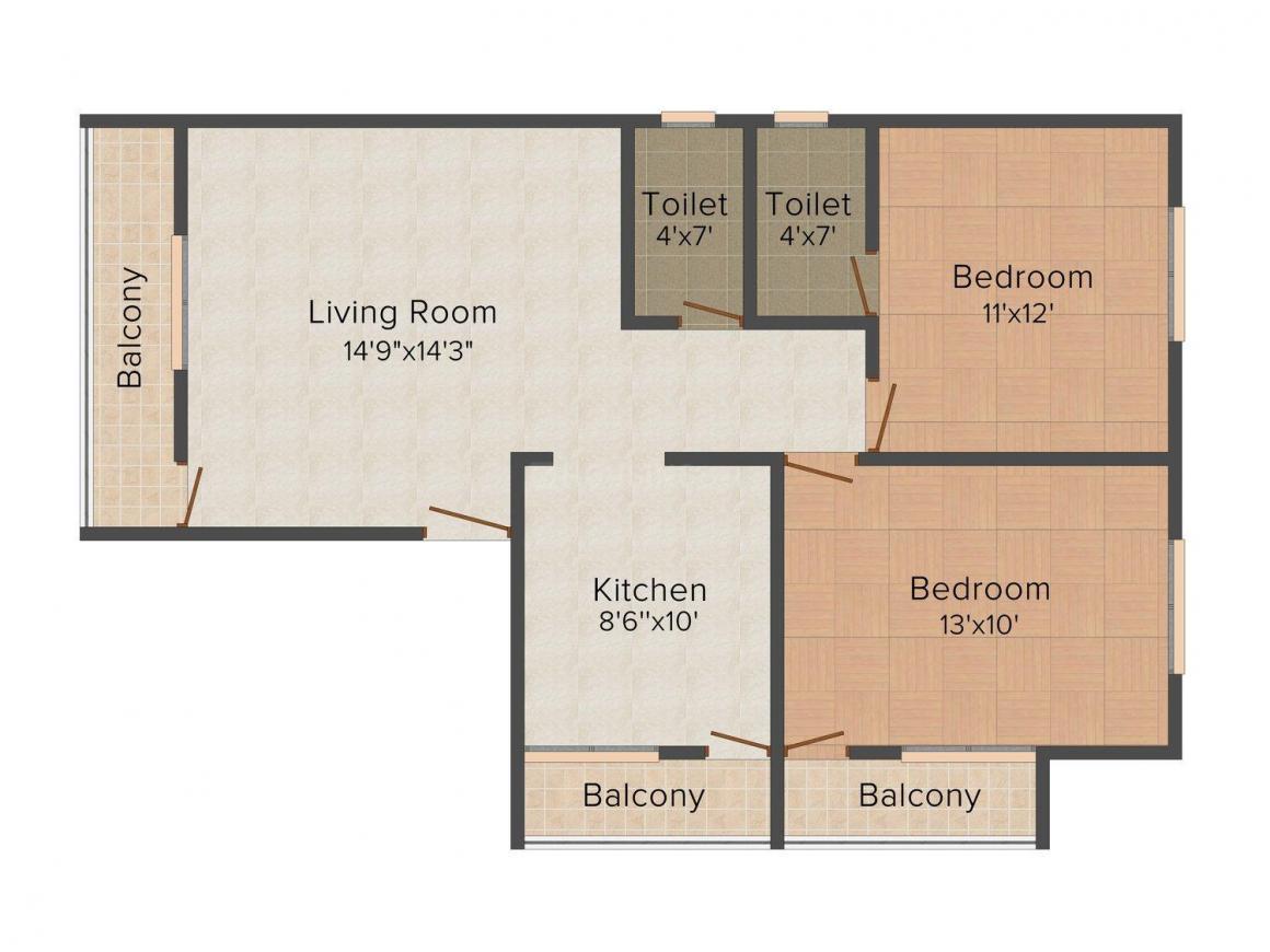 Floor Plan Image of 0 - 900 Sq.ft 2 BHK Apartment for buy in Shree Siddheshwar Shree Sukhakarta Regency
