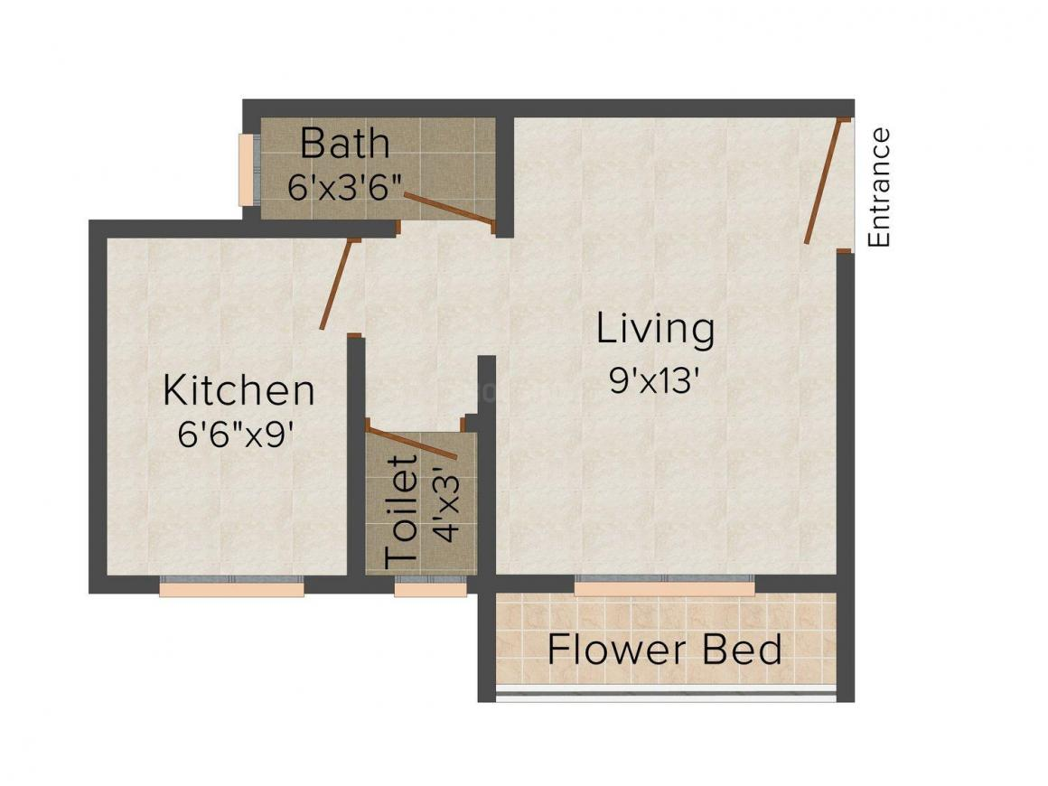 MSS Mangalmurti Nagar Floor Plan: 1 BHK Unit with Built up area of 264 sq.ft 1