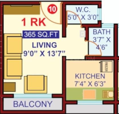 Mangal Murti Heights Floor Plan: 1 BHK Unit with Built up area of 237 sq.ft 1