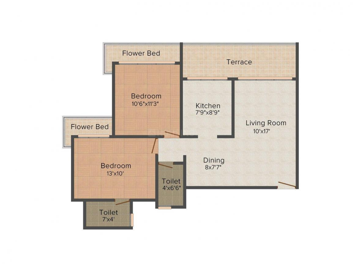 Floor Plan Image of 1200.0 - 1600.0 Sq.ft 2 BHK Apartment for buy in Siddharth Geetanjali Garden