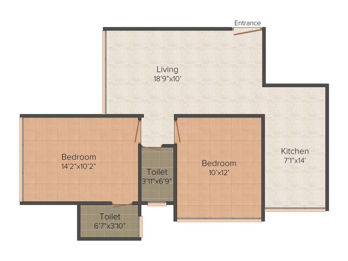 Floor Plan Image of 975 - 1050 Sq.ft 2 BHK Apartment for buy in Aum Ganaraje