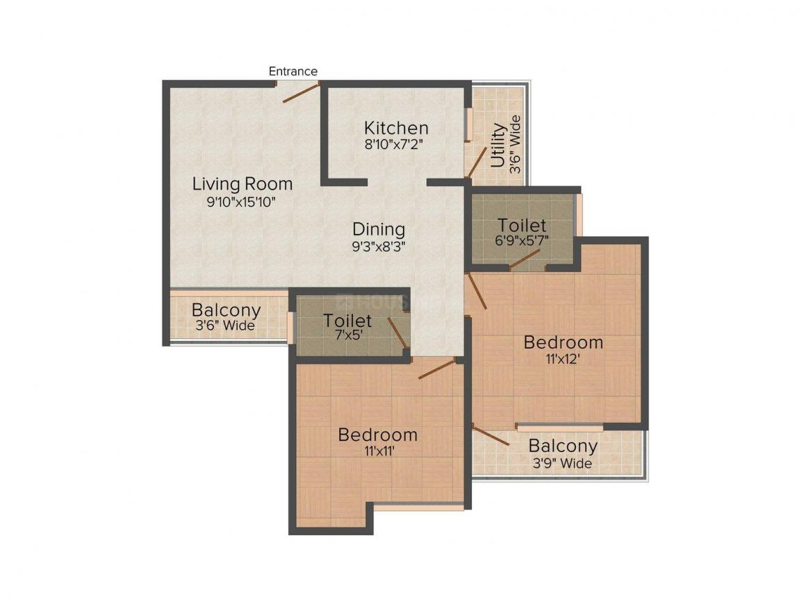 Floor Plan Image of 1130.0 - 1485.0 Sq.ft 2 BHK Apartment for buy in Tulsiani Imperial Green