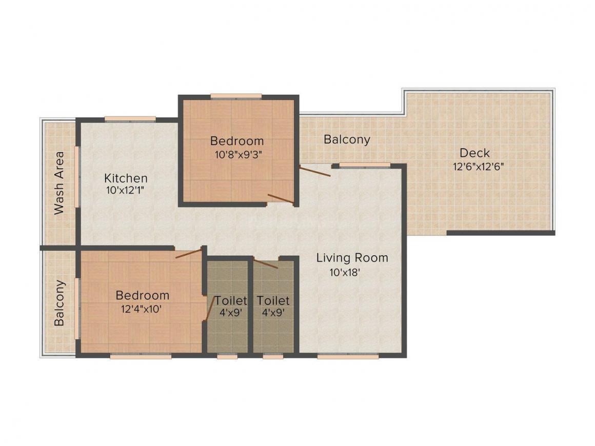 Floor Plan Image of 0 - 1602 Sq.ft 2 BHK Apartment for buy in Mahalaxmi Apartment 2