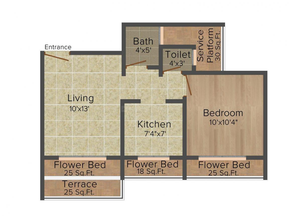 Floor Plan Image of 670.0 - 840.0 Sq.ft 1 BHK Apartment for buy in Krishna Heights