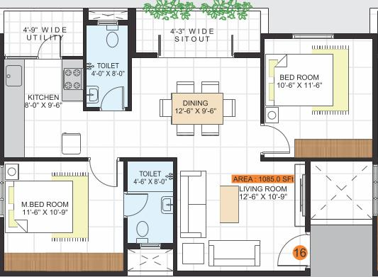 JP Lotus Floor Plan: 2 BHK Unit with Built up area of 1085 sq.ft 1