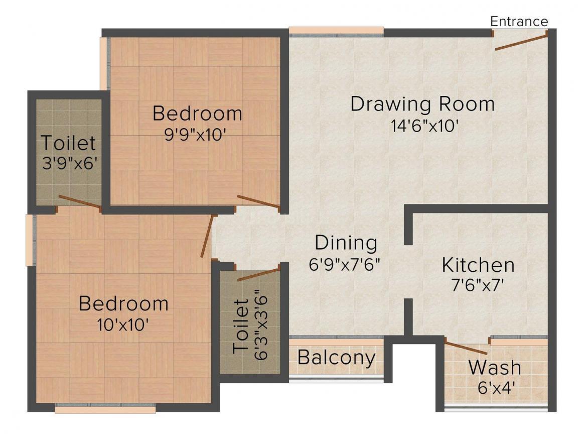 Ravi Samyak Residency Floor Plan: 2 BHK Unit with Built up area of 972 sq.ft 1