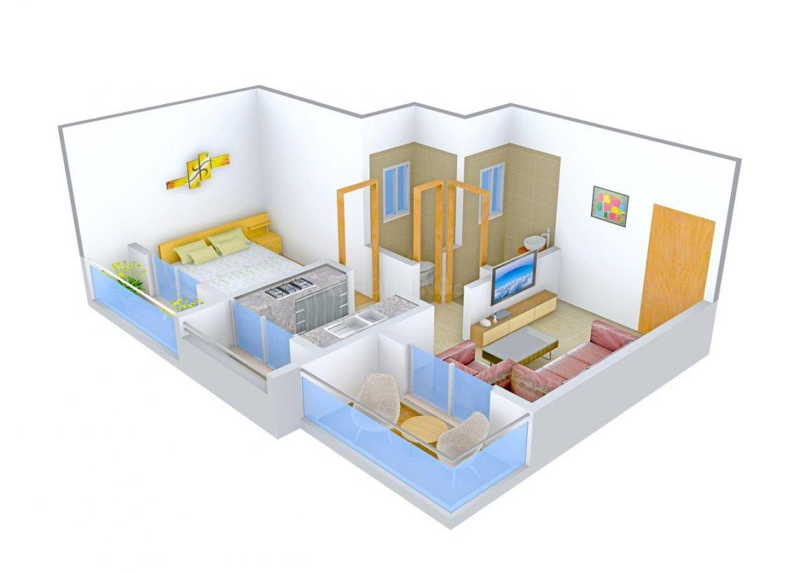 Floor Plan Image of 480.0 - 770.0 Sq.ft 1 BHK Apartment for buy in Lakhani Blue Waves