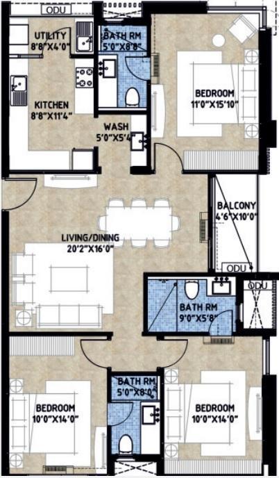 Ellitos Dugar Floor Plan: 3 BHK Unit with Built up area of 1489 sq.ft 1