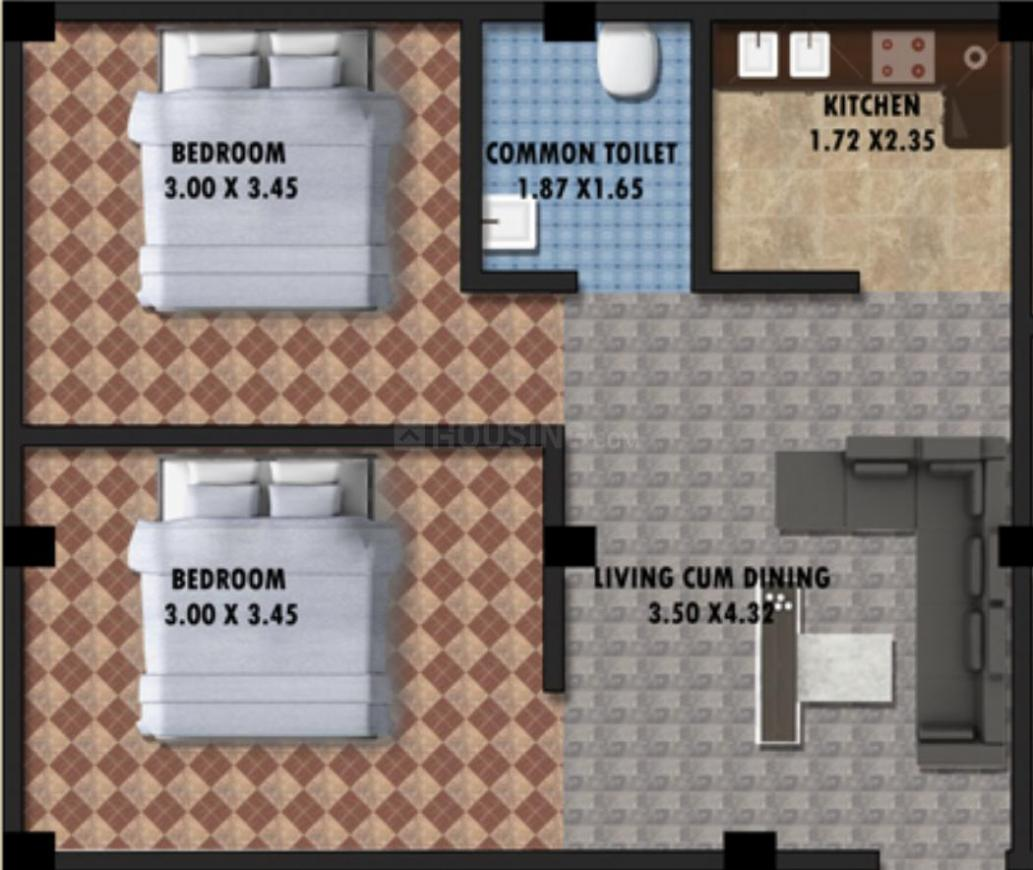 Evolution Chitra Hari Apartment Floor Plan: 2 BHK Unit with Built up area of 950 sq.ft 1
