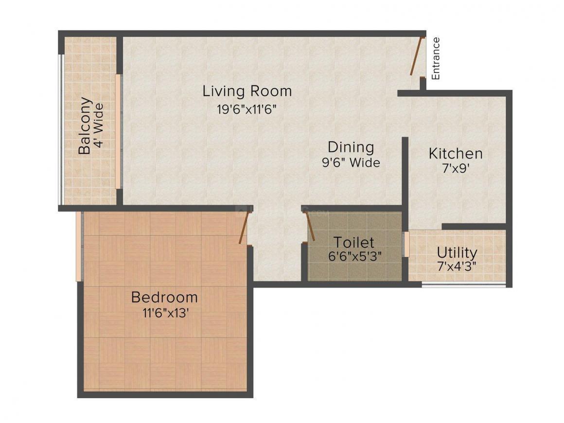 Floor Plan Image of 880 - 1759 Sq.ft 1 BHK Apartment for buy in SLV Spandana