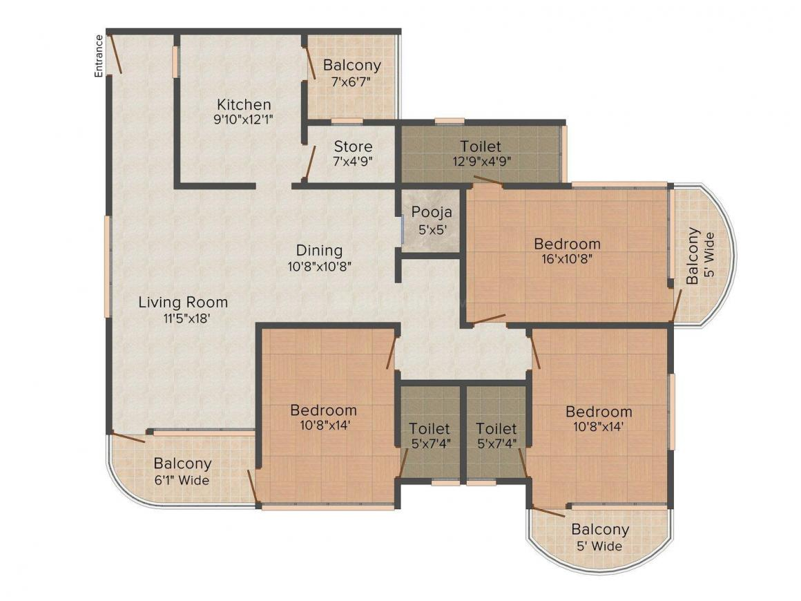 Floor Plan Image of 0 - 2263.0 Sq.ft 3 BHK Apartment for buy in Hriday JAS Exotica - A