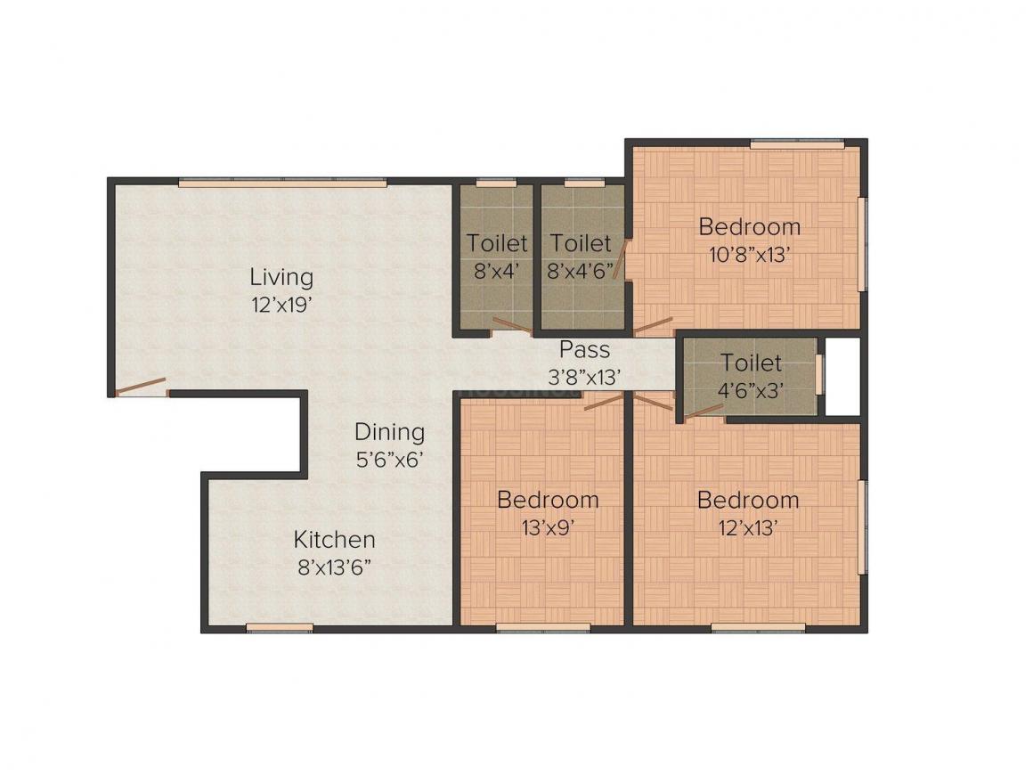 Gangar La Regalia Floor Plan: 3 BHK Unit with Built up area of 955 sq.ft 1