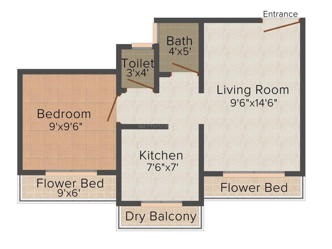 Floor Plan Image of 0 - 572 Sq.ft 1 BHK Apartment for buy in Samarth Vinayak Complex