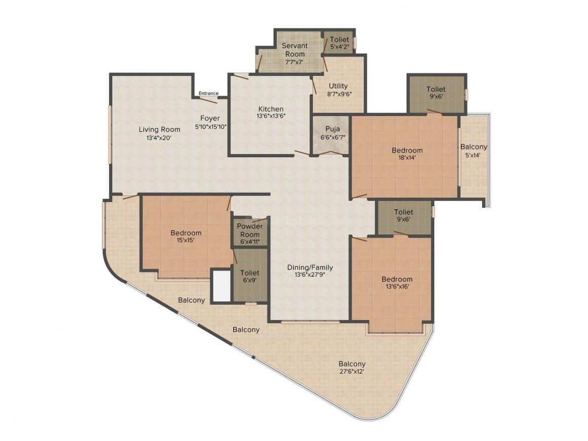 Elegant Exotica Floor Plan: 3 BHK Unit with Built up area of 3500 sq.ft 1