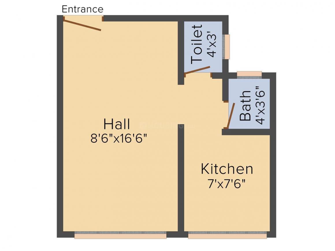 RVR Sai Darshan Arcade Floor Plan: 1 BHK Unit with Built up area of 320 sq.ft 1