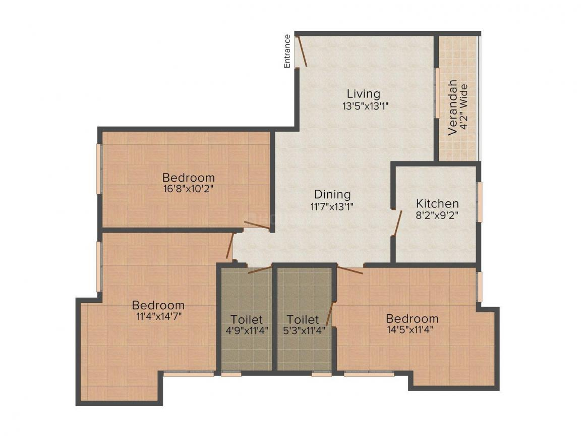Floor Plan Image of 1674.0 - 1682.0 Sq.ft 3 BHK Apartment for buy in Amrapali Lake Road